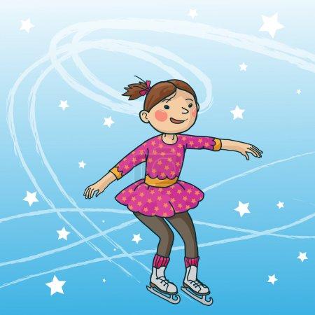 Illustration pour Petite fille patinant sur glace. STAR. Activités hivernales. Objets isolés sur fond neige hiver. Grande illustration pour les livres scolaires et plus encore. VECTEUR . - image libre de droit