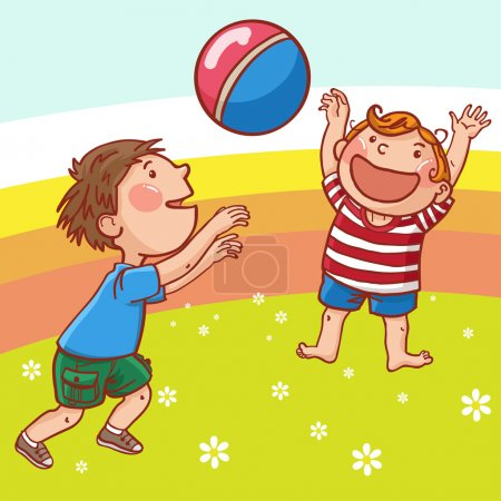 Boys playing with ball