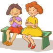Two girls talking together on the GREEN bench.Conv...