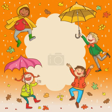 Kids jumping with umbrellas