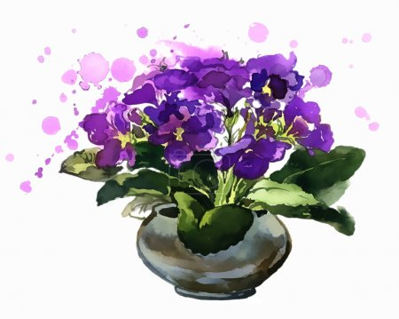 Illustration for Blue flowers in a pot. African violets. Spring flowers. Watercolor. This illustration is a great choice for Wedding, Birthday, Valentine, children book and magazine decoration. VECTOR. - Royalty Free Image