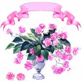 Bouquet of pink roses and ribbon