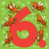 Cute Six Bees Number 6 Children illustration for School books magazines advertising and more Separate Objects VECTOR