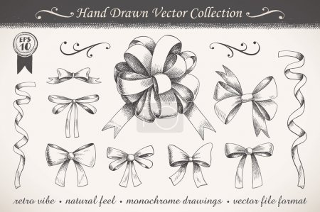 Illustration for A collection of graphic ribbons and bows - Royalty Free Image