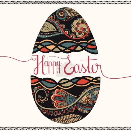 Illustration for Easter card with decorative egg - Royalty Free Image