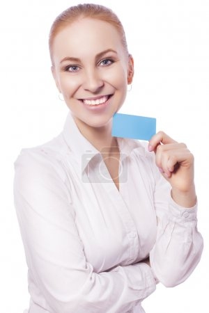 Blonde business woman manager worker smiles and shows a card. is
