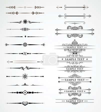 Illustration for Elements for a vintage design - decorative line dividers. Vector illustration. - Royalty Free Image