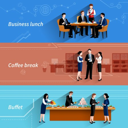 Business lunch flat banners set
