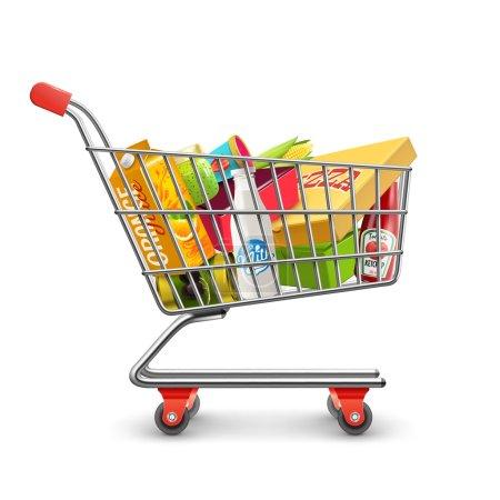 Illustration pour Chariot chariot libre-service supermarché complet avec produits d'épicerie frais et illustration vectorielle réaliste poignée rouge - image libre de droit