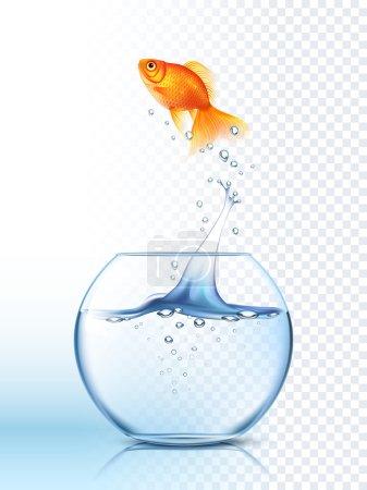 Illustration pour Poisson doré sautant haut dans le bol à poisson rond avec l'illustration vectorielle d'affiche d'arrière-plan à carreaux de lumière d'eau claire - image libre de droit