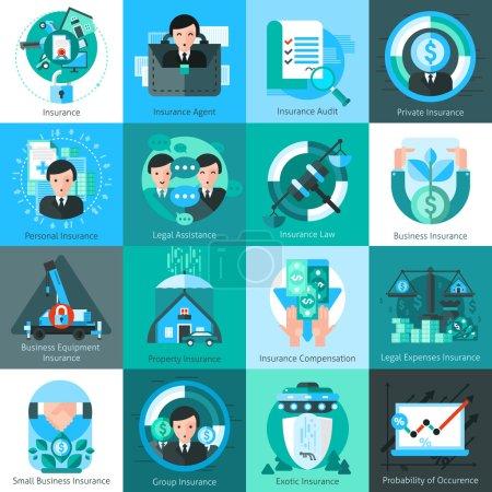 Illustration pour Icônes d'assurance entreprise sertie d'agent d'assurance et audit symboles plat isolé vector illustration - image libre de droit