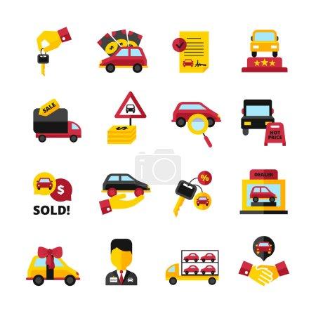 Illustration pour Concessionnaire automobile plat icônes décoratives réglées avec des véhicules clés poignée de main vendeur contrat isolé vectoriel illustration - image libre de droit