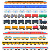 Train icons set with passenger and cargo transport isolated vector illustration