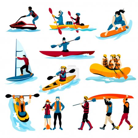 People In Extreme Water Sports Color Icons