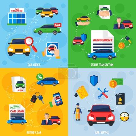 Illustration pour Salle d'exposition de voitures avec véhicules à vendre et options de paiement sûres 4 icônes plates composition carrée illustration vectorielle de bannière - image libre de droit