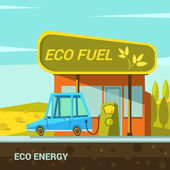 Ecological energy cartoon poster with eco fuel station retro style vector illustration