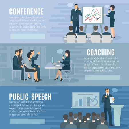 Public Speaking Flat Horizontal Banners Set