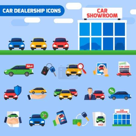 Illustration pour Concessionnaire automobile centre plat icônes composition avec de nouveaux véhicules showroom et vente affaire pictogrammes illustration vectorielle abstraite - image libre de droit