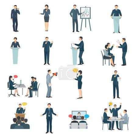 Illustration pour Aptitudes à parler en public collection d'icônes plates avec présentation de conférence aide visuelle et formation résumé illustration isolée vecteur - image libre de droit