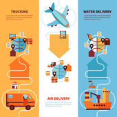 Logistics vertical flat banners set of trucking by earth air and water delivery design compositions vector illustration