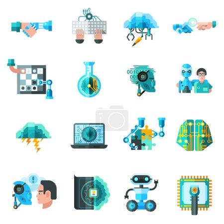 Illustration pour Icônes d'intelligence artificielle réglées avec ordinateur portable robot et illustration vectorielle isolée plate clavier - image libre de droit