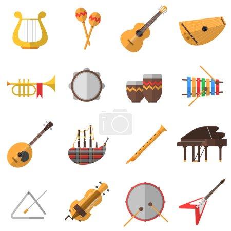 Illustration pour Icônes d'instruments de musique avec guitare piano et batterie illustration vectorielle isolée plate - image libre de droit