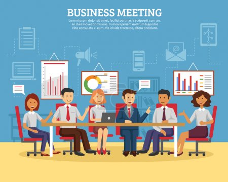 Illustration for Business meeting concept with people chatting in conference room flat vector illustration - Royalty Free Image