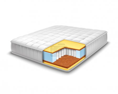 Illustration for Double comfortable orthopedic mattress cut out in realistic style with layers view isolated vector illustration - Royalty Free Image