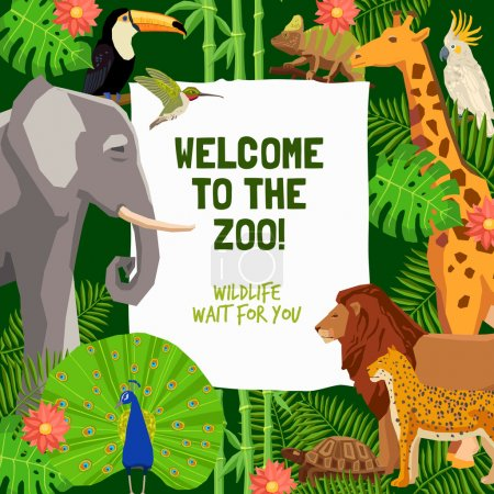 Illustration for Colorful poster with tropical animals and invitation to visit zoo flat vector illustration - Royalty Free Image