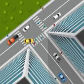 Top view on city crossroad in 3d design with cars pedestrians truck in business district vector illustration