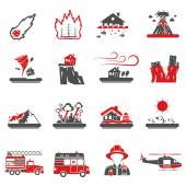 Natural Disaster Red Black Icons Collection
