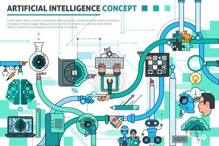 Illustration pour Composition de la ligne de concept d'intelligence artificielle avec symboles de communication illustration vectorielle plate - image libre de droit