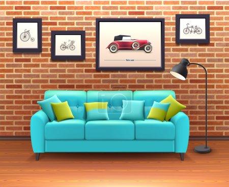 Interior With Sofa Realistic Illustration