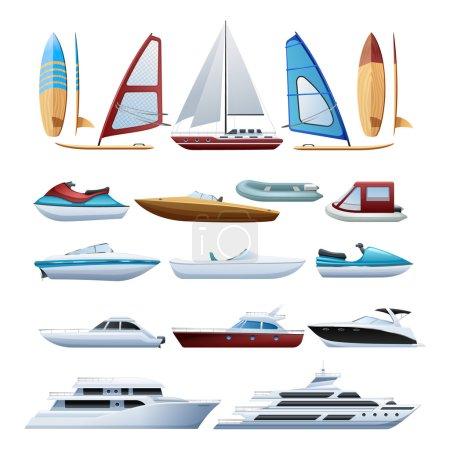Boats  And Windsurfer Flat Icons Set