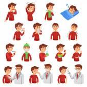 Iilness chřipka Icon Set