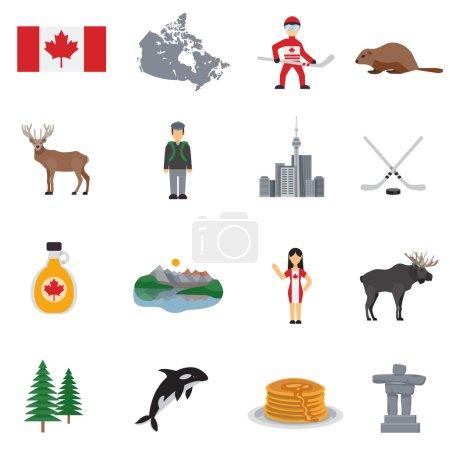 Illustration pour Canada icônes plates avec carte drapeau hockey lacs sirop d'érable tour et animaux isolé vecteur illustration - image libre de droit