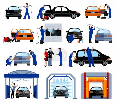 Car Wash Service Flat Pictograms Set