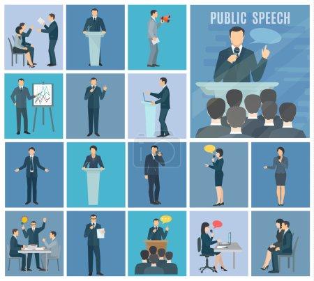 Illustration pour Parler en public à l'auditoire en direct ateliers et présentations set bleu fond plat icônes set abstrait isolé illustration vecteur - image libre de droit