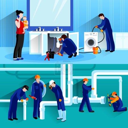 Illustration pour Deux compositions horizontales plombier avec des artisans faisant la réparation de pipeline dans la maison illustration vectorielle plat - image libre de droit