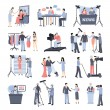 Pressman and operator icon set with reporter journ...
