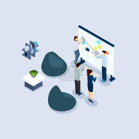 Illustration pour Coworking freelance employés partageant l'environnement de travail dans l'organisation bureau isométrique conception illustration vectorielle abstraite - image libre de droit