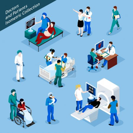 Doctor And Patient Isometric People Icon Set