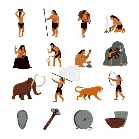 Illustration for Prehistoric stone age icons set presenting life of cavemen and their primitive tools flat isolated vector illustration - Royalty Free Image