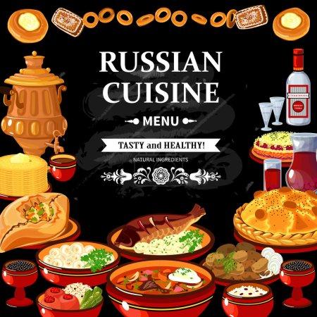 Illustration pour Menu restaurant cuisine russe affiche tableau noir avec des plats traditionnels colorés vodka et samovar illustration vectorielle abstraite - image libre de droit