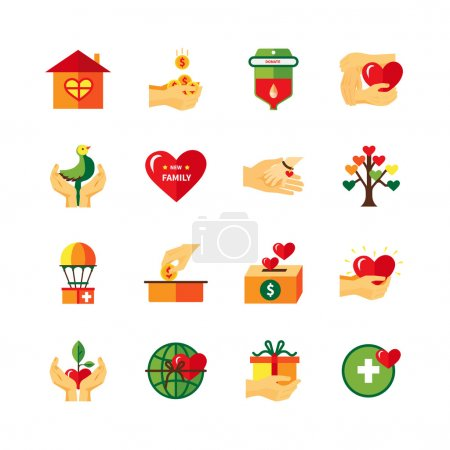Illustration for Non profit charity organizations symbols of fundraising donations and love flat icons collection abstract isolated vector illustrati - Royalty Free Image