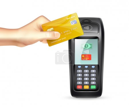 Illustration for Payment terminal and gold credit card in human hand in realistic style vector illustration - Royalty Free Image