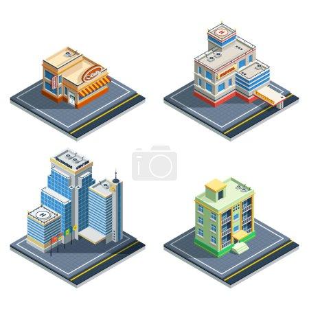 Illustration pour Bâtiment isométrique icône isolée ensemble avec quatre types de structures ordinaires de la ville illustration vectorielle - image libre de droit
