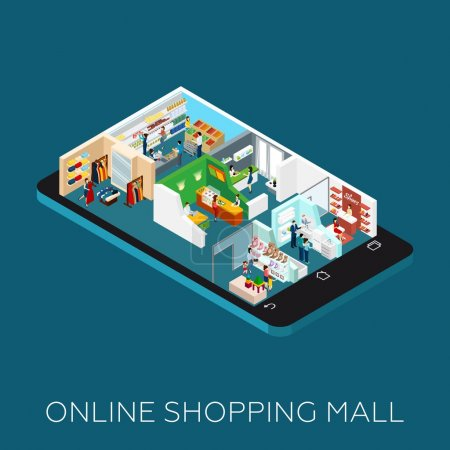 Online Shopping Mall Isometric Icon
