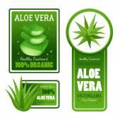 Aloe Vera Leaves Label Banners Set