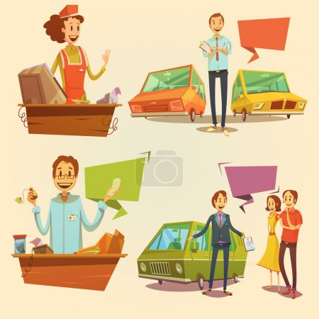 Illustration pour Ensemble de dessin animé rétro vendeur avec concessionnaire automobile et vendeur de pharmacie illustration vectorielle isolée - image libre de droit